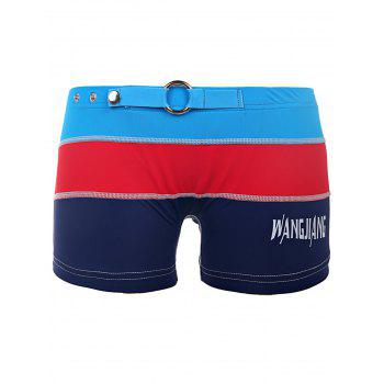 Color Block Metal Loop Button Elastic Waist Letter Print Men's Boxer Swimming Trunks - SAPPHIRE BLUE SAPPHIRE BLUE