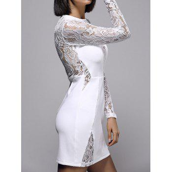 Bodycon Lace Spliced Long Sleeve Round Neck Women's Dress - WHITE S