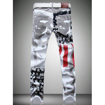 Men's Casual Colorful Printing Zip Fly Straight Legs Denim Pants - WHITE 36