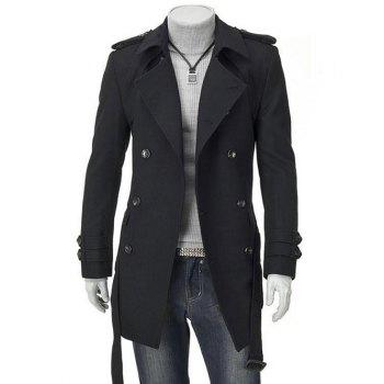 Men's Turn-Down Collar Epaulet Design Double Breasted Long Sleeve Woolen coat - BLACK M