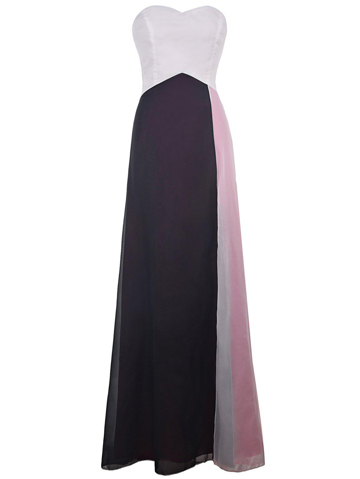 Stylish Strapless Color Block Women's Maxi Prom Dress - COLORMIX S
