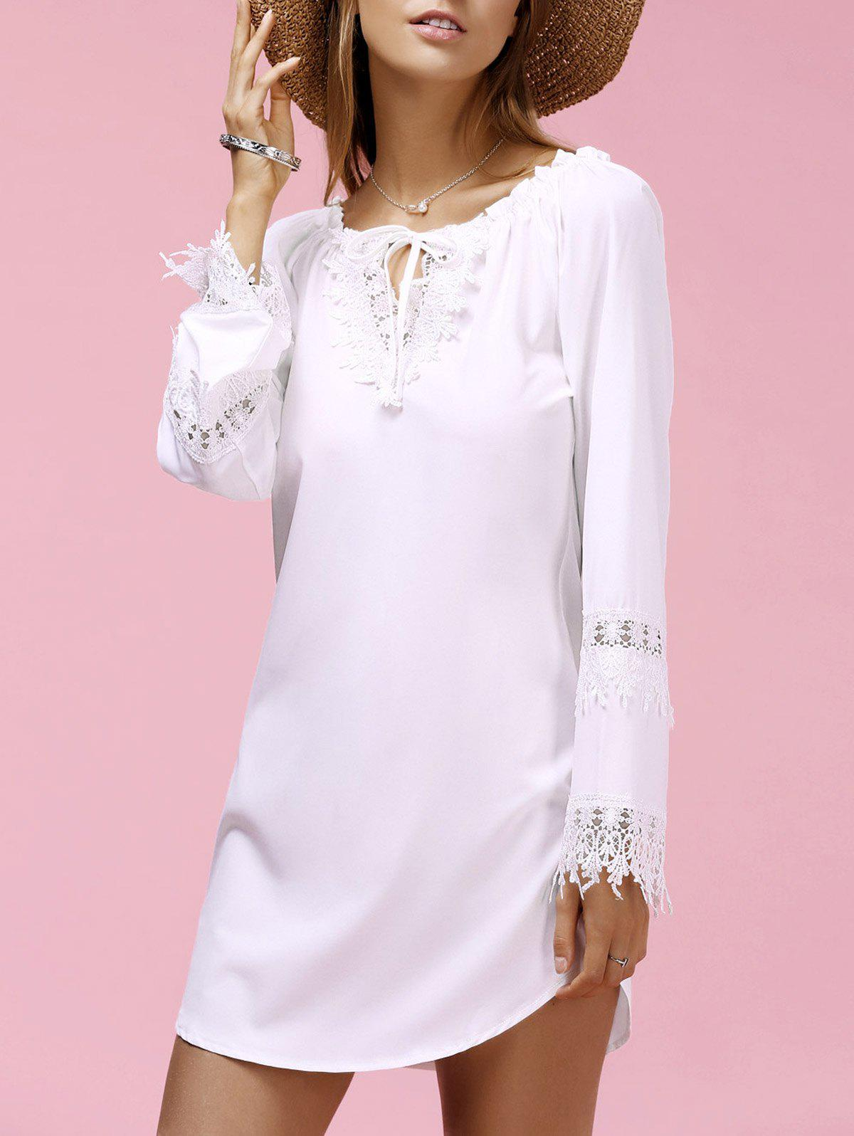 Refreshing Jewel Neck Lace Spliced Long Sleeve Dress For Women - WHITE M
