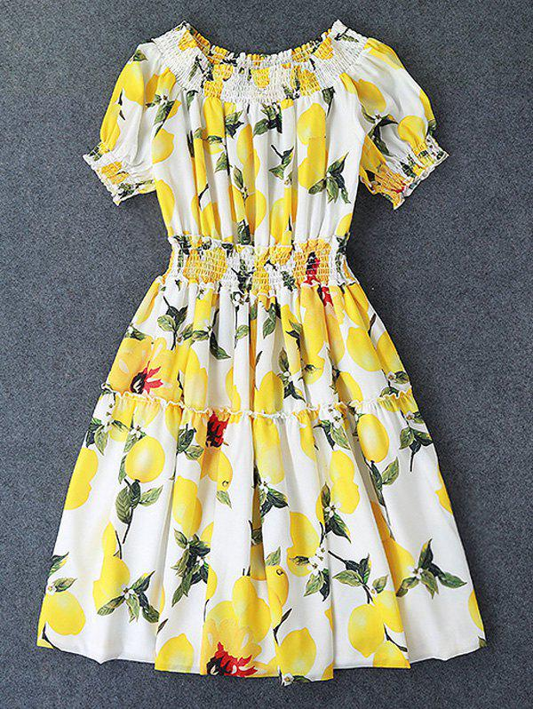 Women's Cute Lemon Print Off-The-Shoulder Pleated Dress