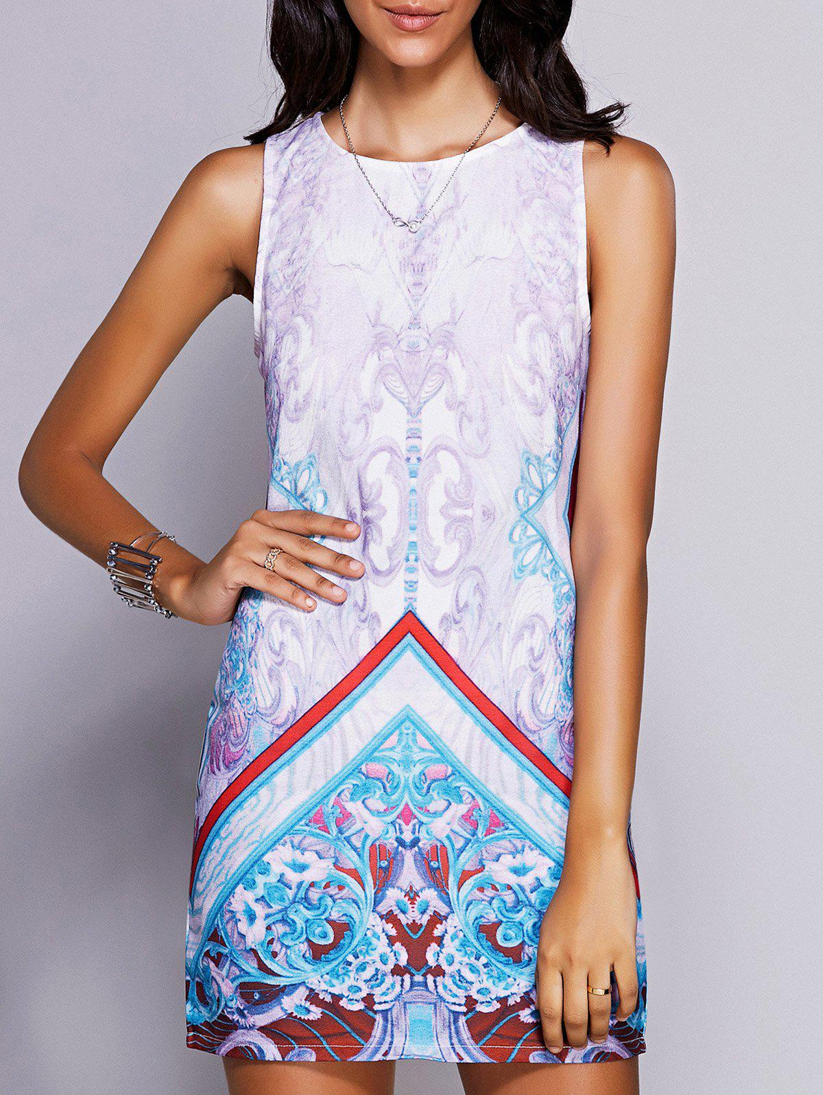 Stylish Women's Round Neck Sleeveless Print Mini Dress - BLUE L