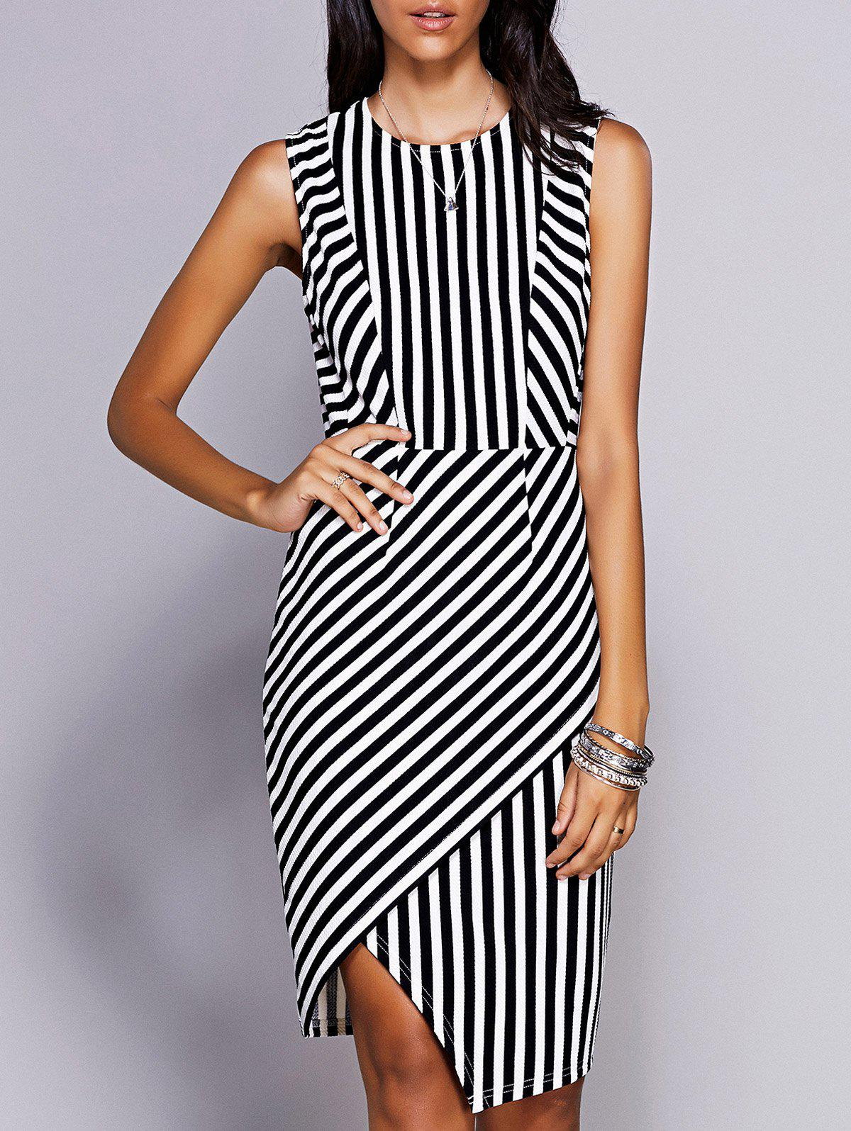 Stylish Women's Round Neck Sleeveless Striped Asymmetric Dress - BLACK M