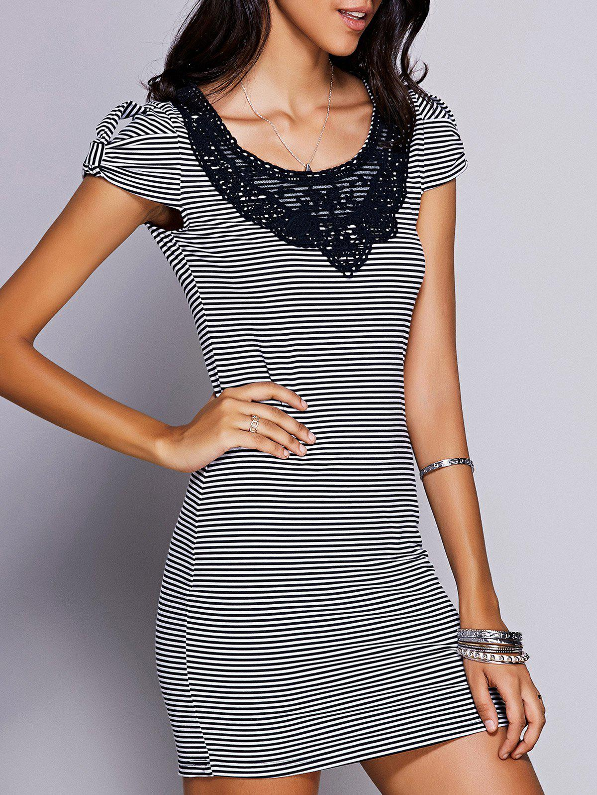 Stylish Women's Scoop Neck Lace Panelled Striped Dress - BLACK L