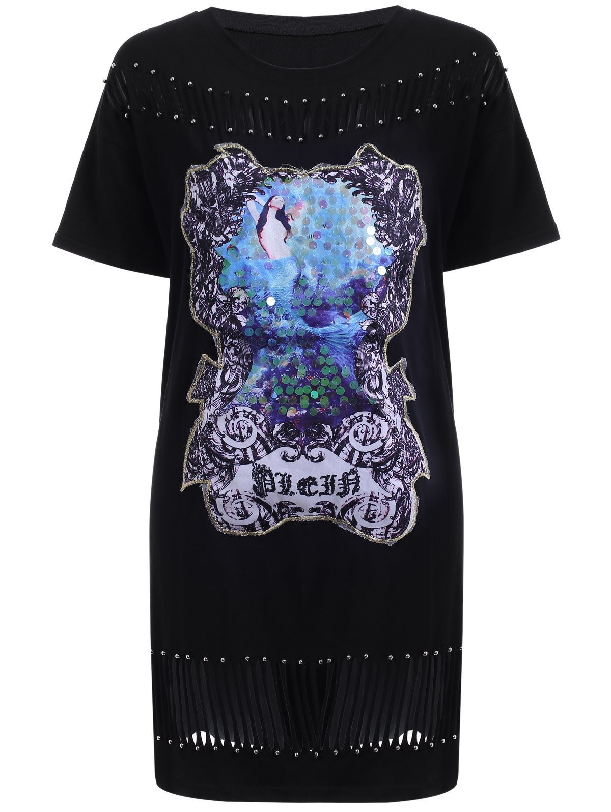 Stylish Women's Round Neck Short Sleeve Sequined Cut Out T-Shirt Dress - BLACK ONE SIZE(FIT SIZE XS TO M)