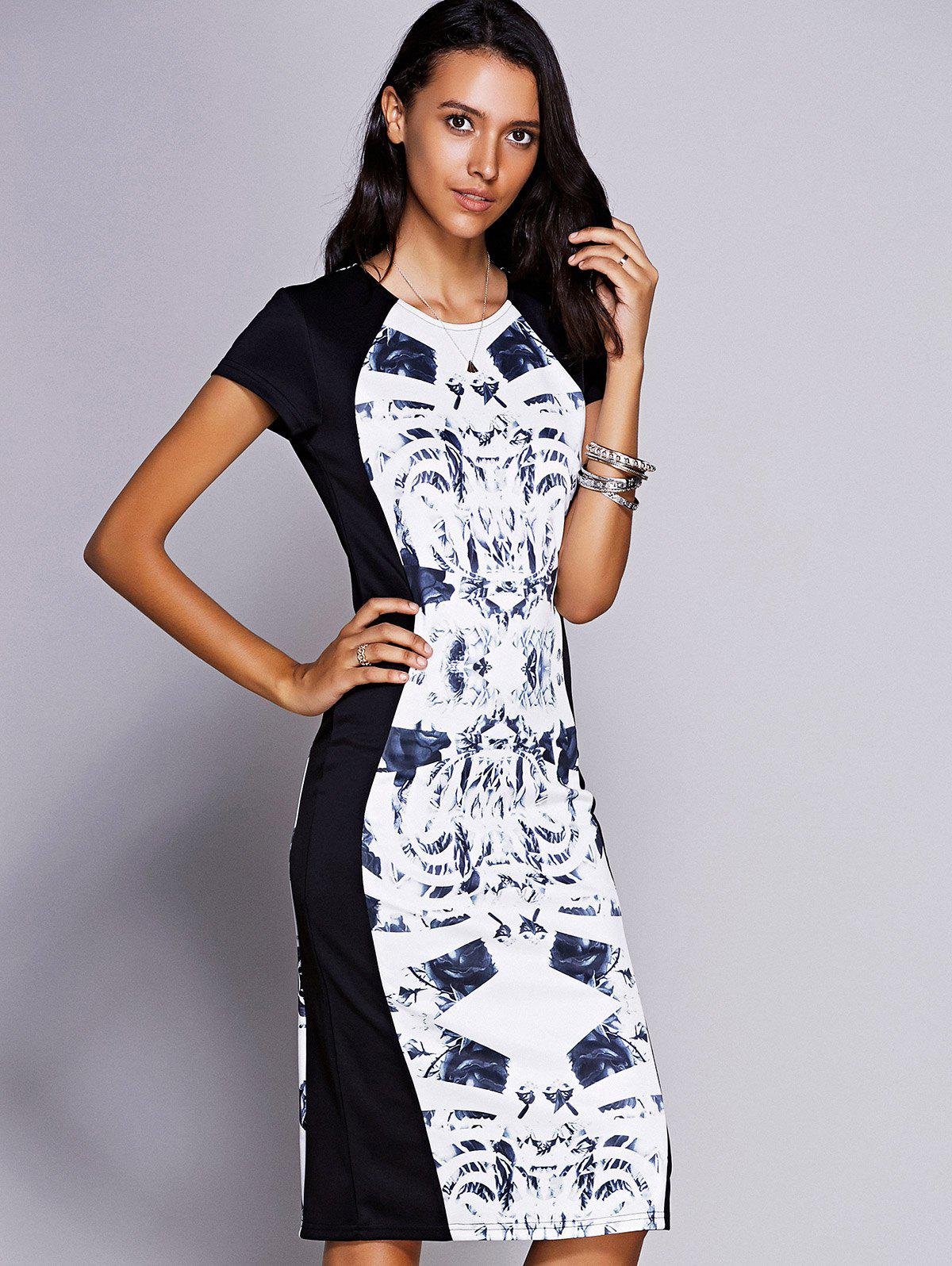 Elegant Women's Jewel Neck Short Sleeve Print Midi Dress - BLACK L