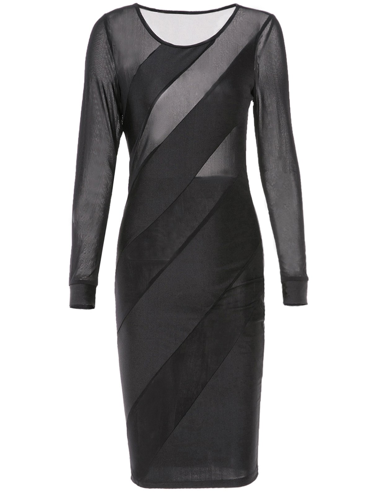 Sexy Jewel Neck See-Through Skew Striped Long Sleeve Bodycon Dress For Women - BLACK L