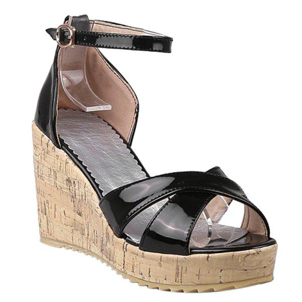 Trendy Cross Straps and Ankle Strap Design Women's Sandals - BLACK 38