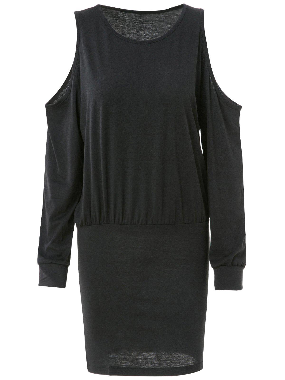 Trendy Long Sleeve Round Neck Pure Color Knitted Women's Dress - BLACK L