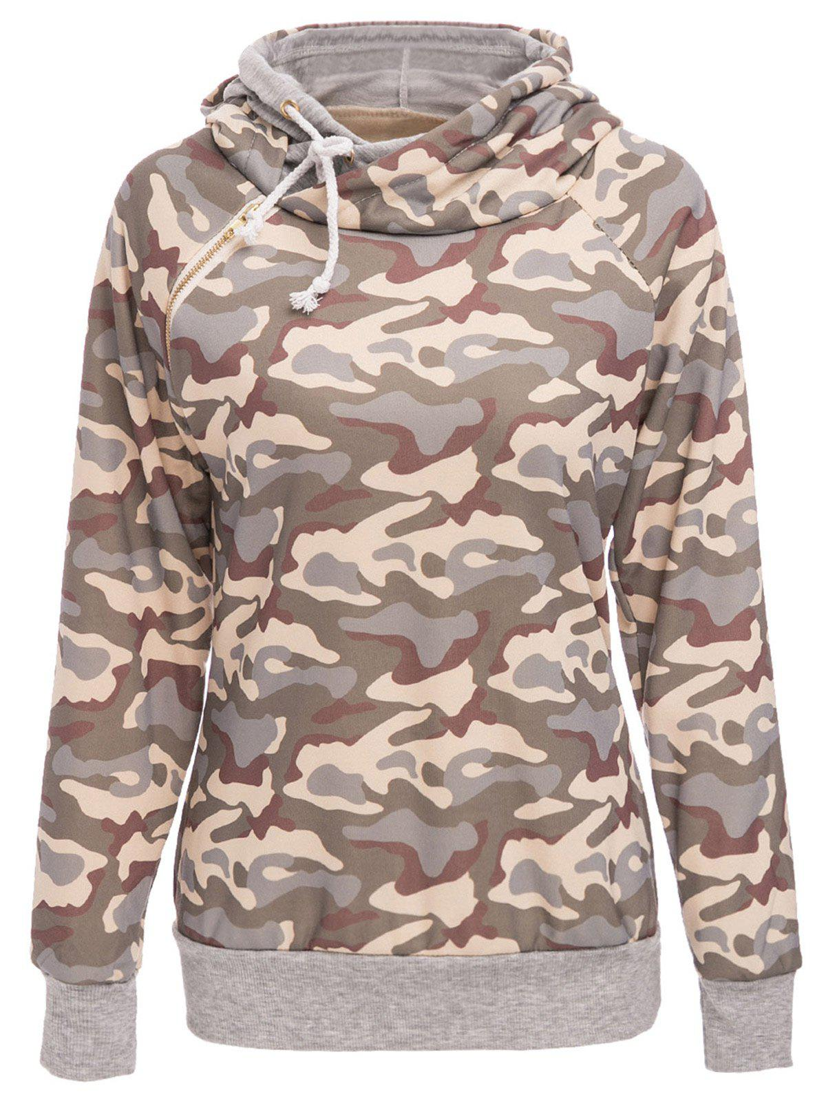 Stylish Long Sleeve Hooded Camo Print Women's Pullover Hoodie - GRAY M