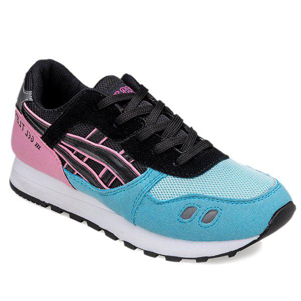 Fashion Color Block and Lace-Up Design Women's Athletic Shoes - LAKE BLUE 39