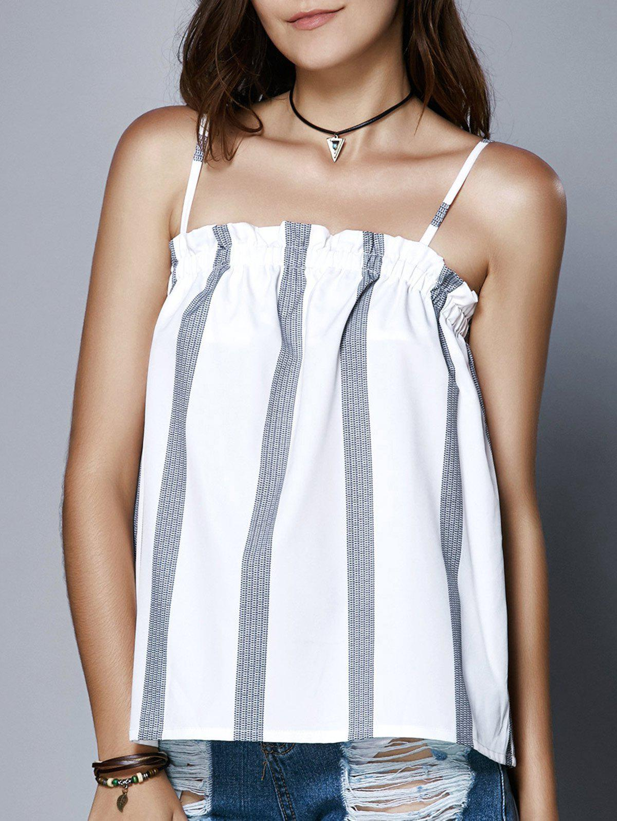 Cute Spaghetti Strap Ruffled Stripe Print Women's Tank Top - WHITE L