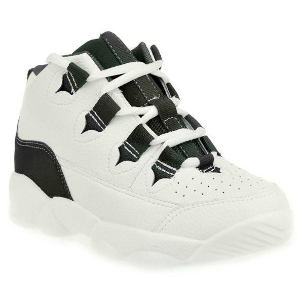 Sweet Color Block and Lace-Up Design Women's Athletic Shoes