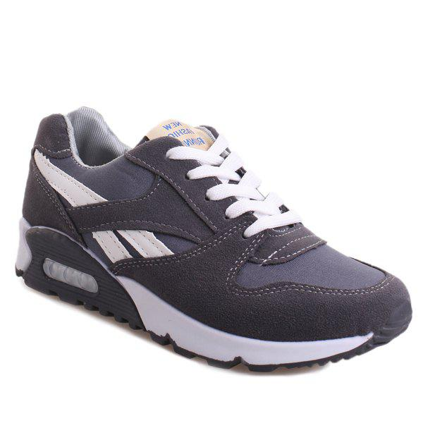 Casual Color Block and Lace-Up Design Women's Athletic Shoes - GRAY 37