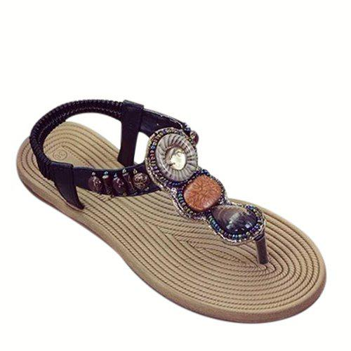 Ethnic Style Stone and T-Strap Design Women's Sandals - BLACK 37