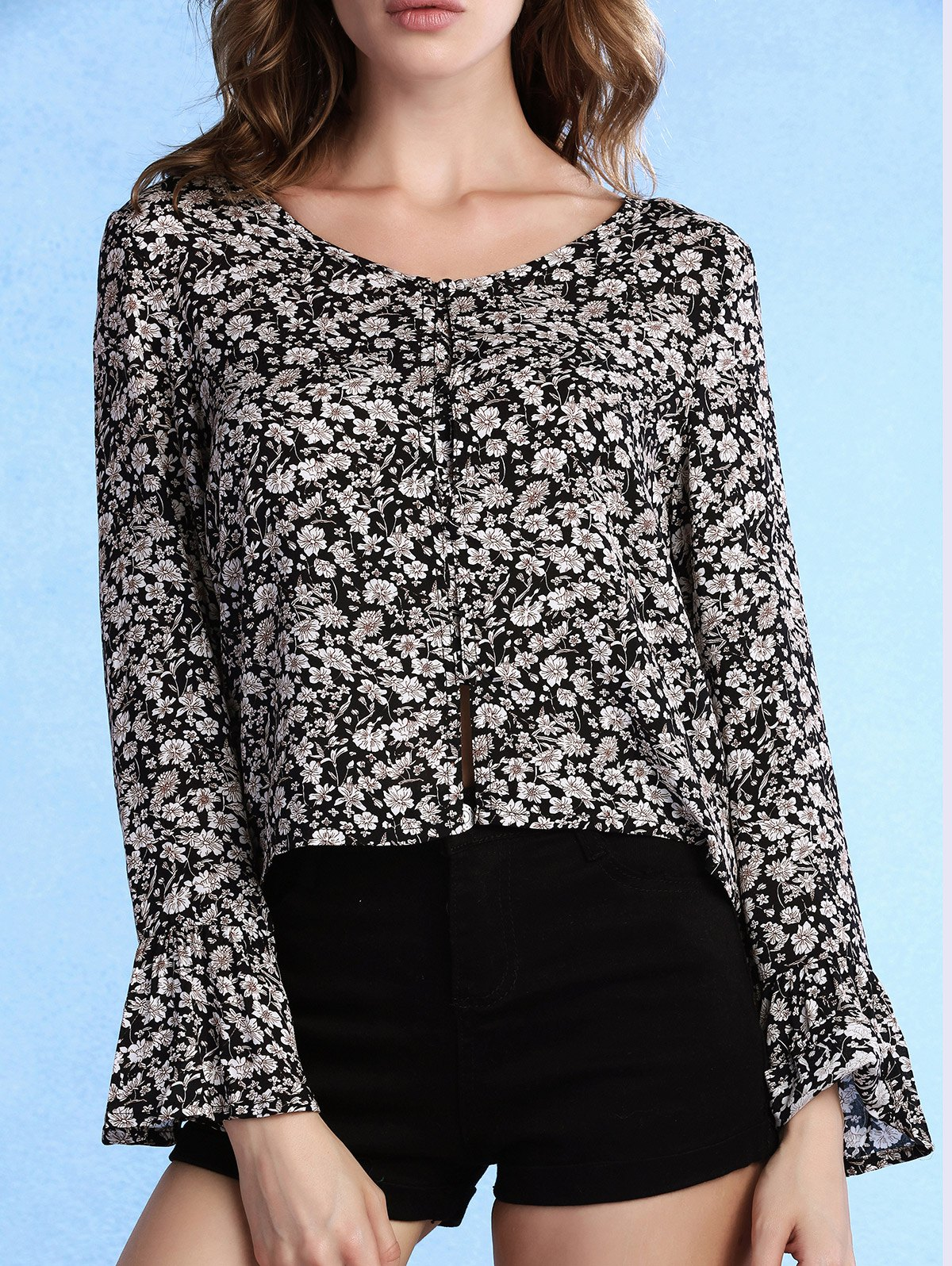 Sweet Tiny Floral Print Scoop Neck Flare Sleeve Women's Blouse - BLACK L