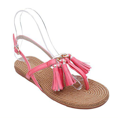 Casual Tassels and Flat Heel Design Women's Sandals - RED 38