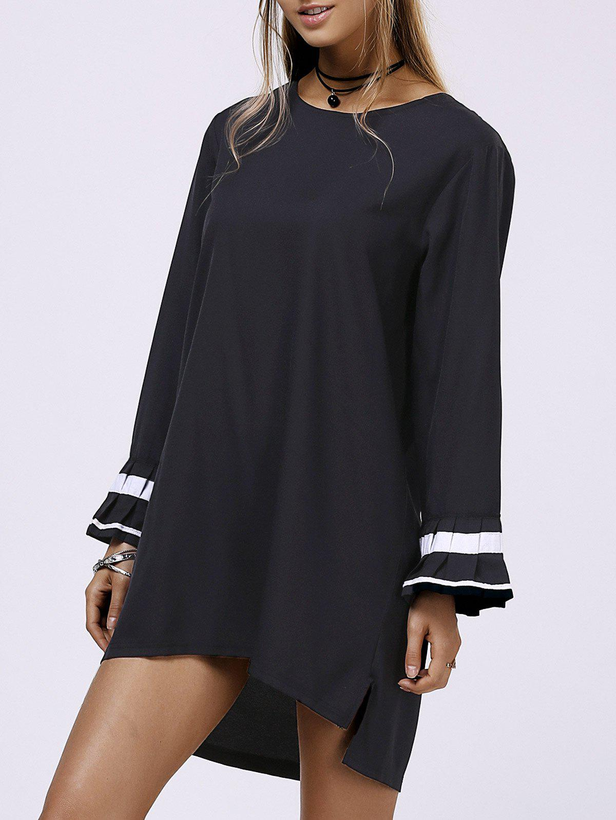 Brief High Low Hem Jewel Neck Plus Size Long Sleeve Dress For Women - BLACK XL