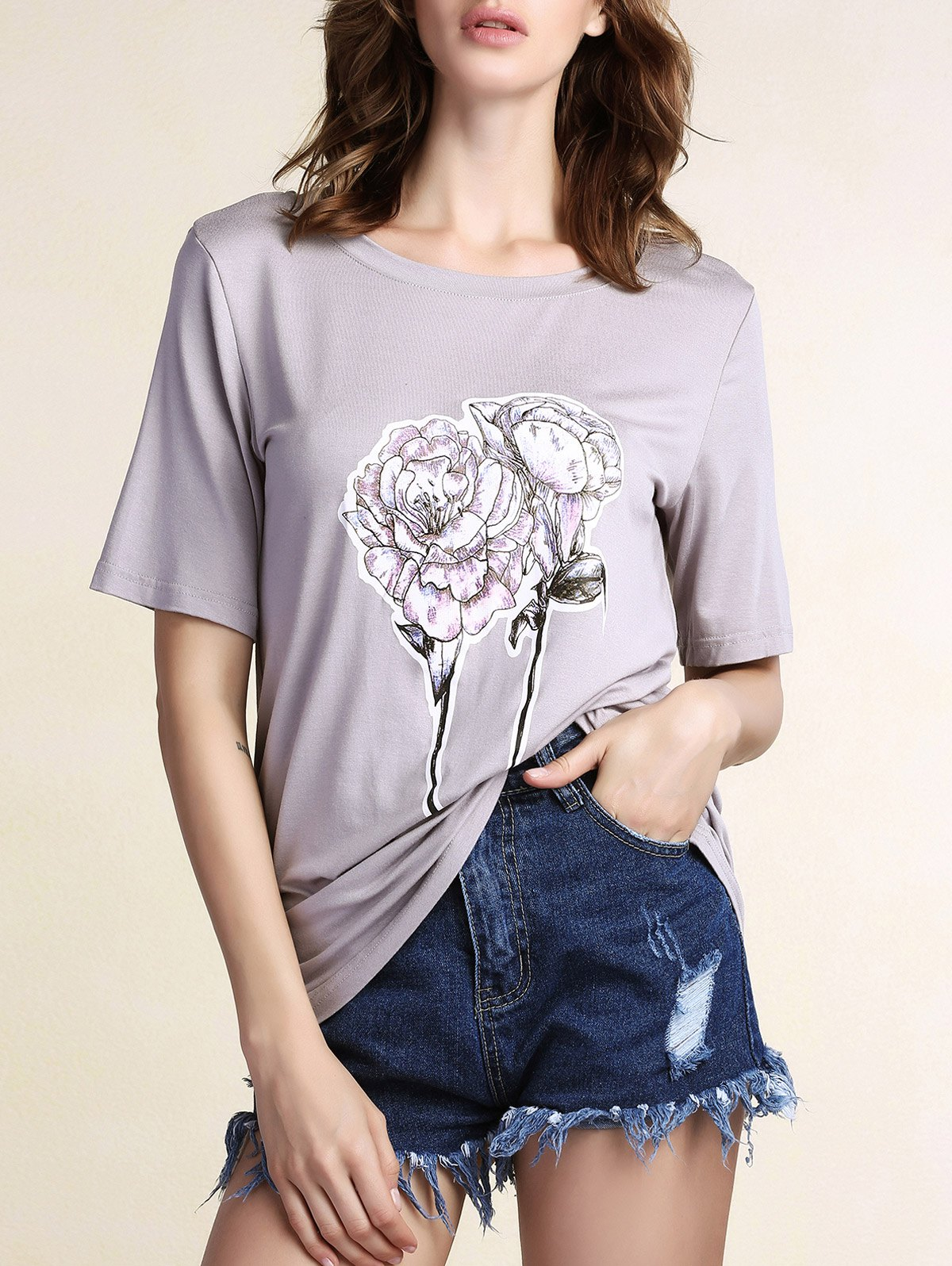Casual Flower Pattern Short Sleeve Round Neck Women's T-Shirt - GRAY L