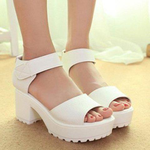 Concise Platform and Solid Color Design Women's Sandals