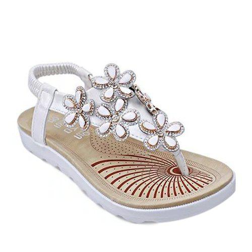 Casual Floral and Flat Heel Design Women's Sandals - WHITE 40