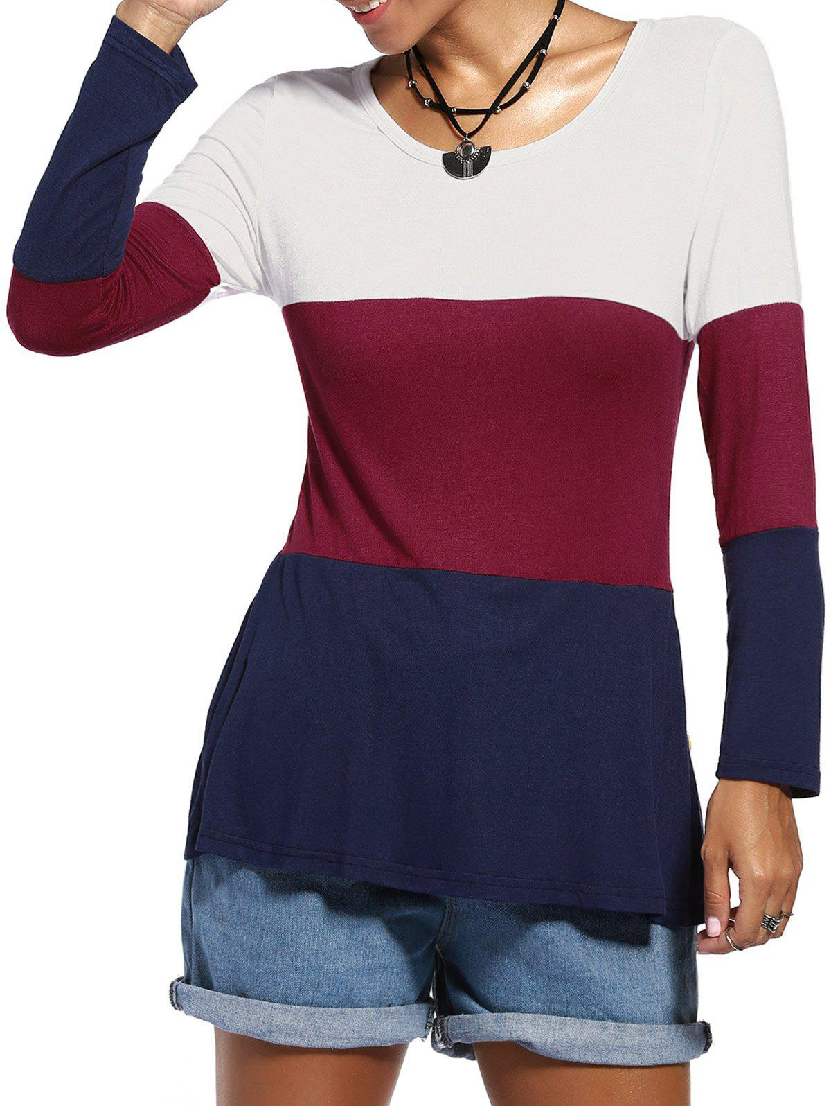 Jewel Neck Color Blocks Buttons Decorated Long Sleeve Casual Tee For Women - COLORMIX L