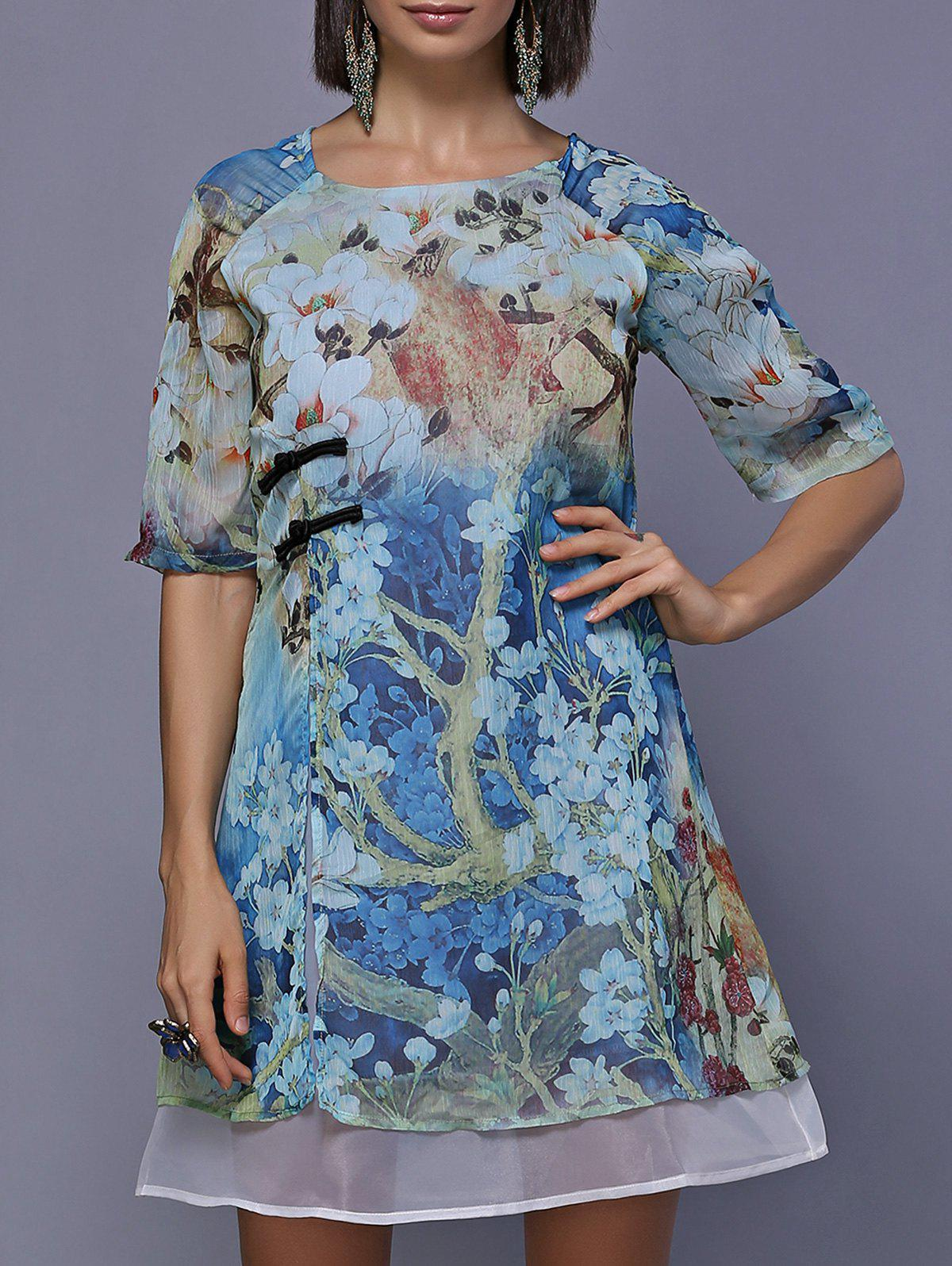 Elegant Floral A-Line Round Neck Painting Dress For Women - BLUE 2XL