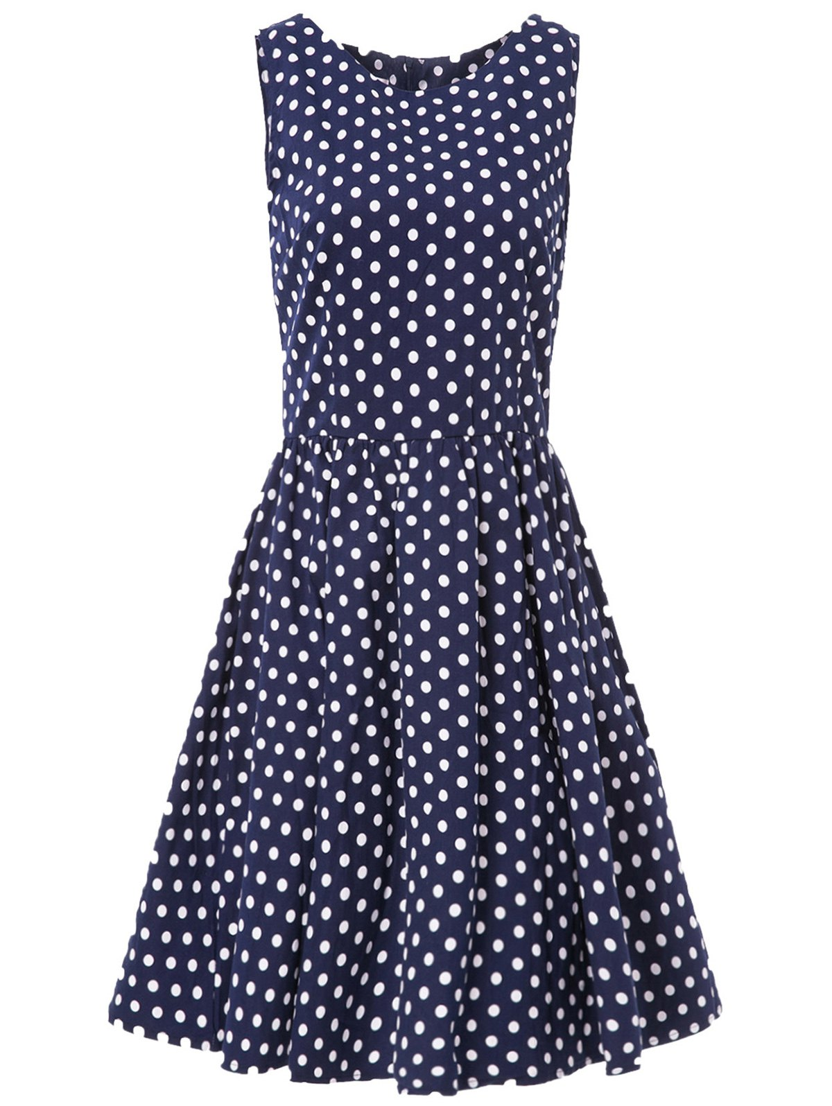 Retro Style Sleeveless Round Neck Polka Dot Women's A-Line Dress - PURPLISH BLUE 2XL