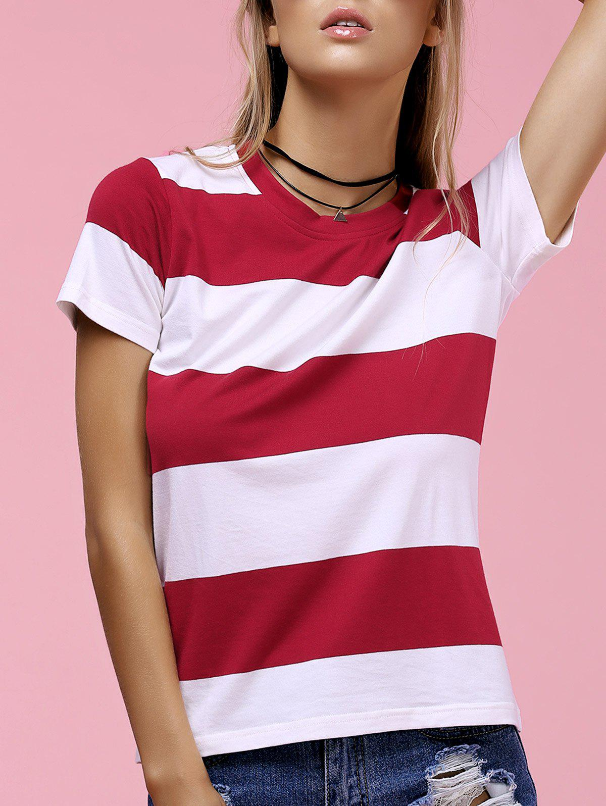 Casual Red And White Striped Round Neck Short Sleeve Tee For Women