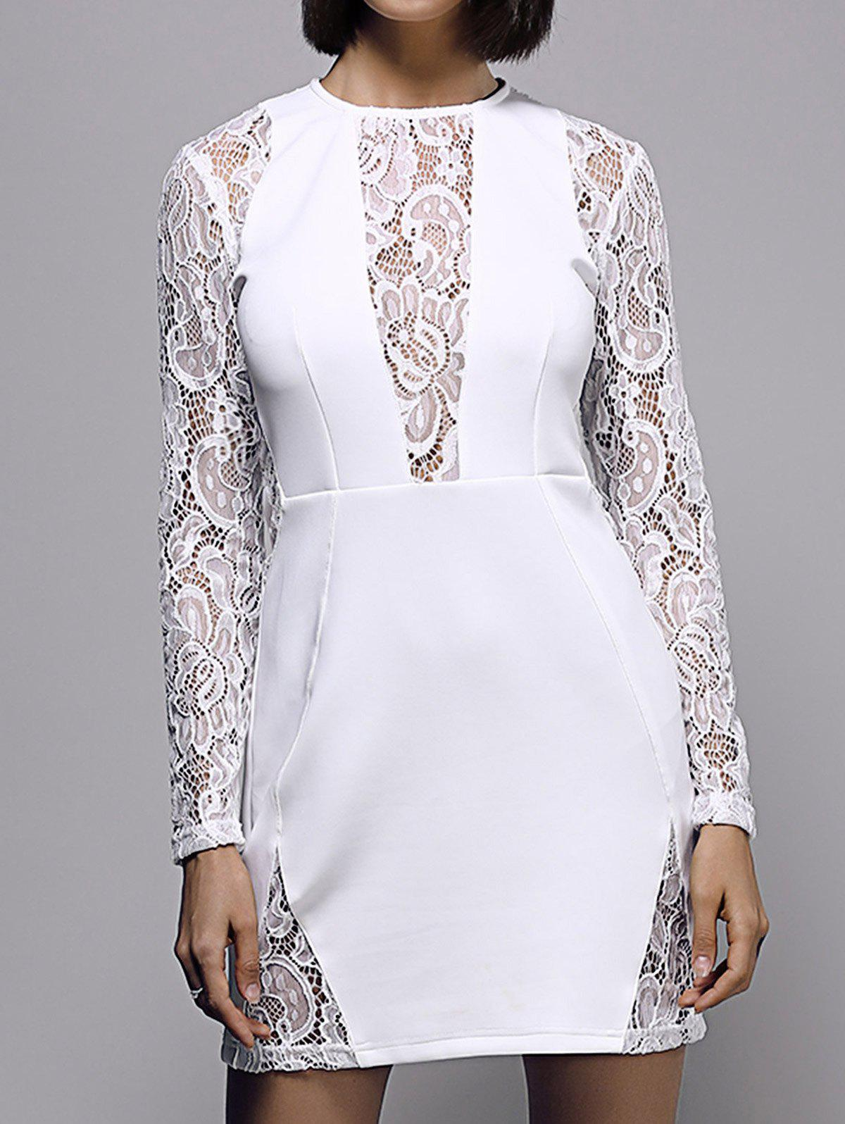 Bodycon Lace Spliced Long Sleeve Round Neck Women's Dress - WHITE 2XL
