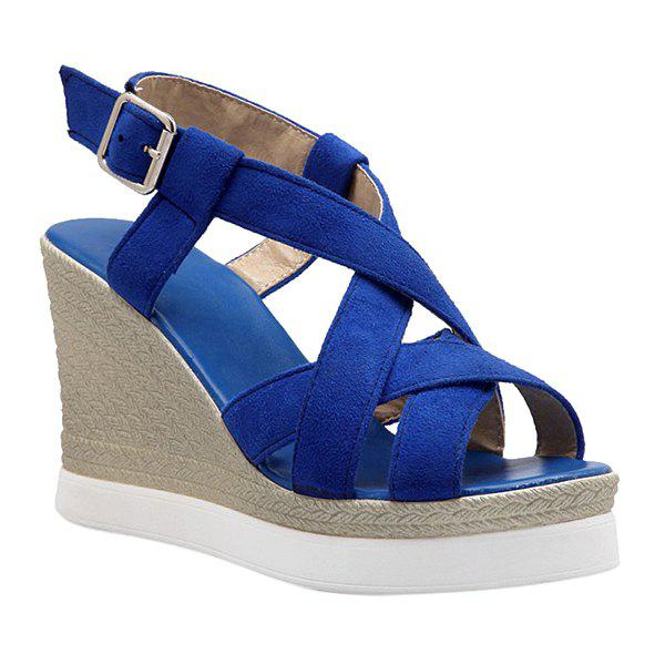 Trendy Wedge Heel and Cross-Strap Design Women's Sandals - BLUE 37