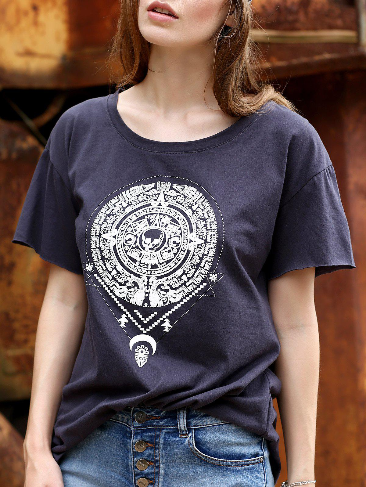 Chic Tribe Pattern Jewel Neck T-Shirt For Women - CADETBLUE XL