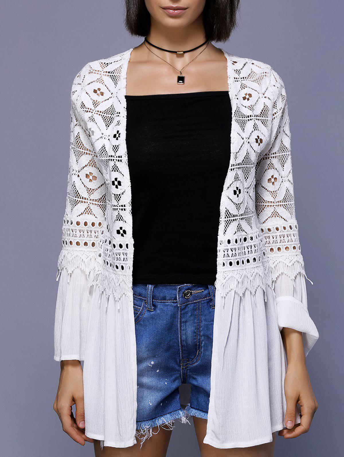 Trendy Bell Sleeve Crochet Lace-Trim  Cover Up For Women - 2XL WHITE