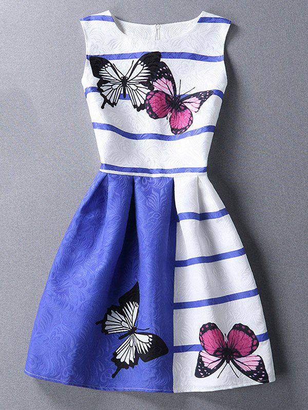 Chic Scoop Neck Butterfly Print Color Block Sleeveless Dress For Women - COLORMIX XL