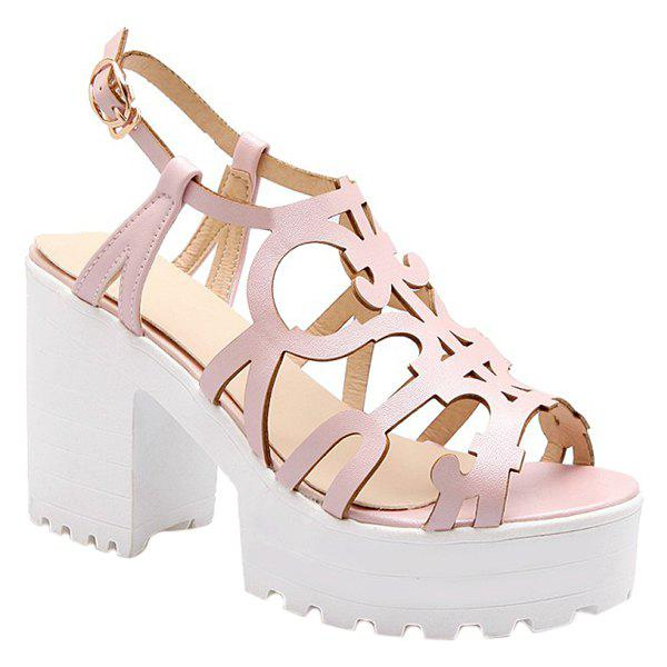 Stylish Hollow Out and Platform Design Women's Sandals - PINK 39