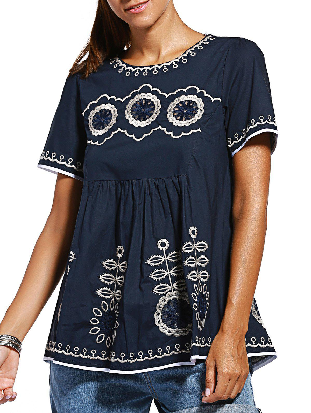 Casual Loose Fitting Embroidered Spliced Women's Blouse - PURPLISH BLUE ONE SIZE(FIT SIZE XS TO M)