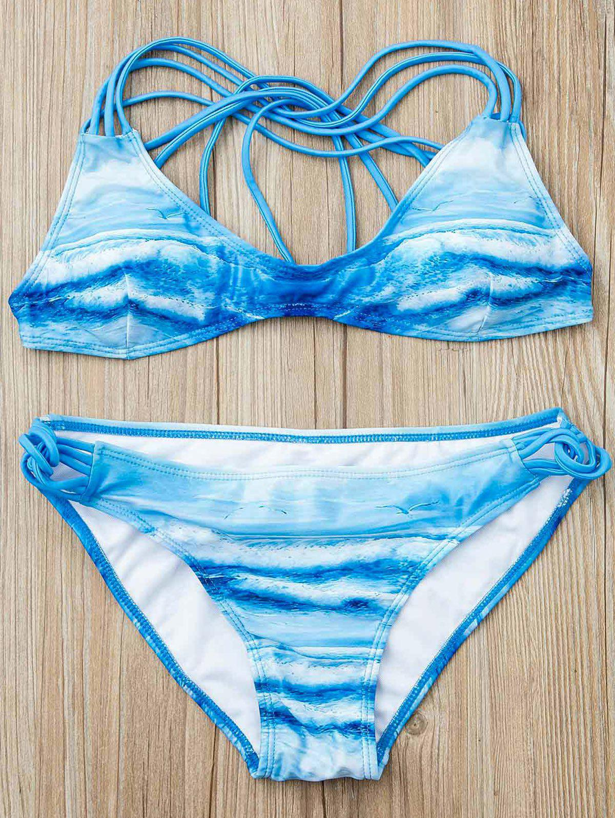 Attractive Printed Low-Cut Halter Bikini Suit For Women