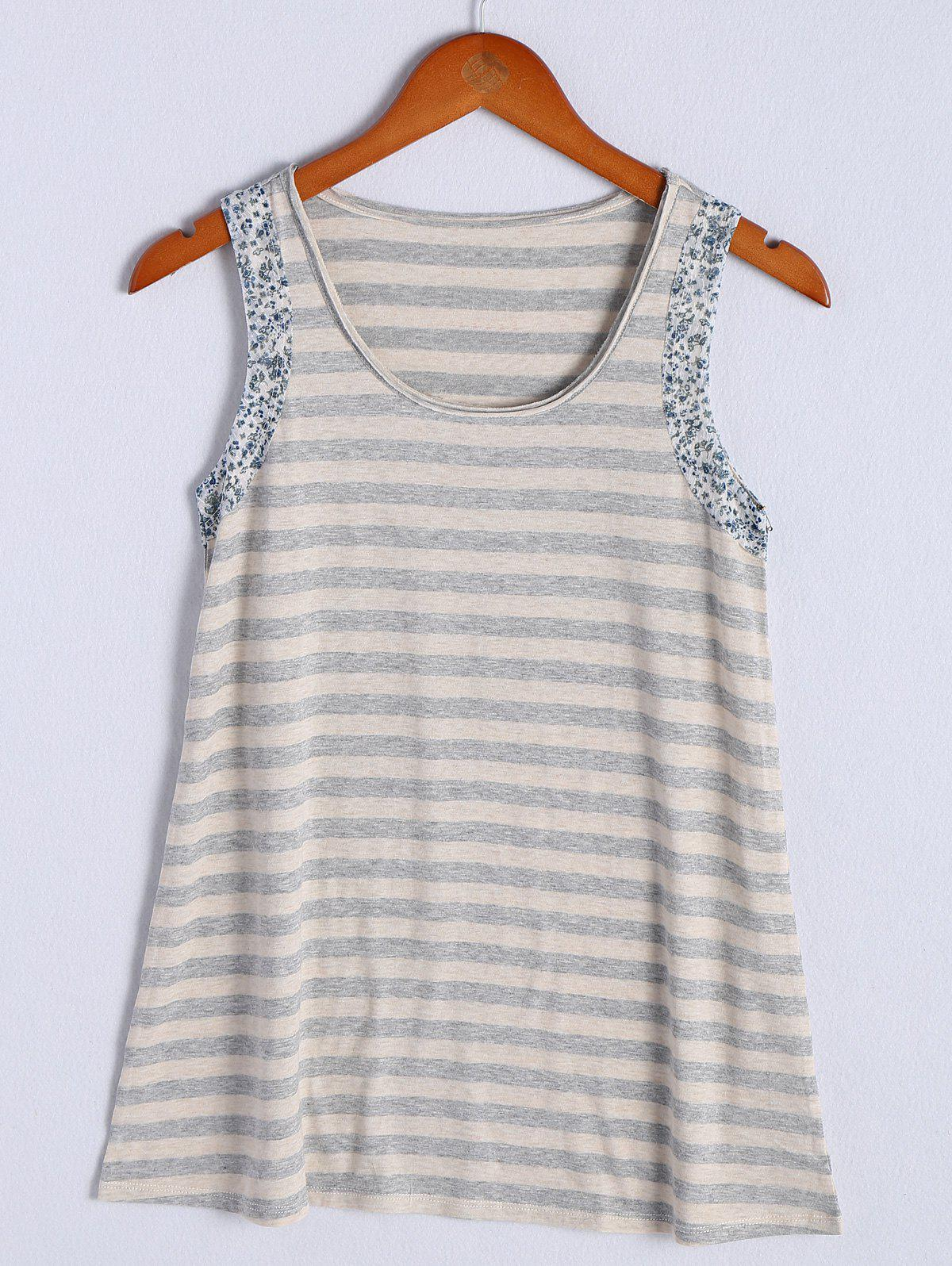 Simple Women's Scoop Neck Striped Floral Hem Tank Top - STRIPE M