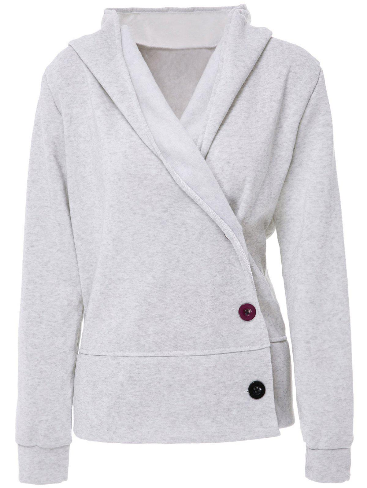 Button Up Hooded Casual Hoodie - LIGHT GRAY L