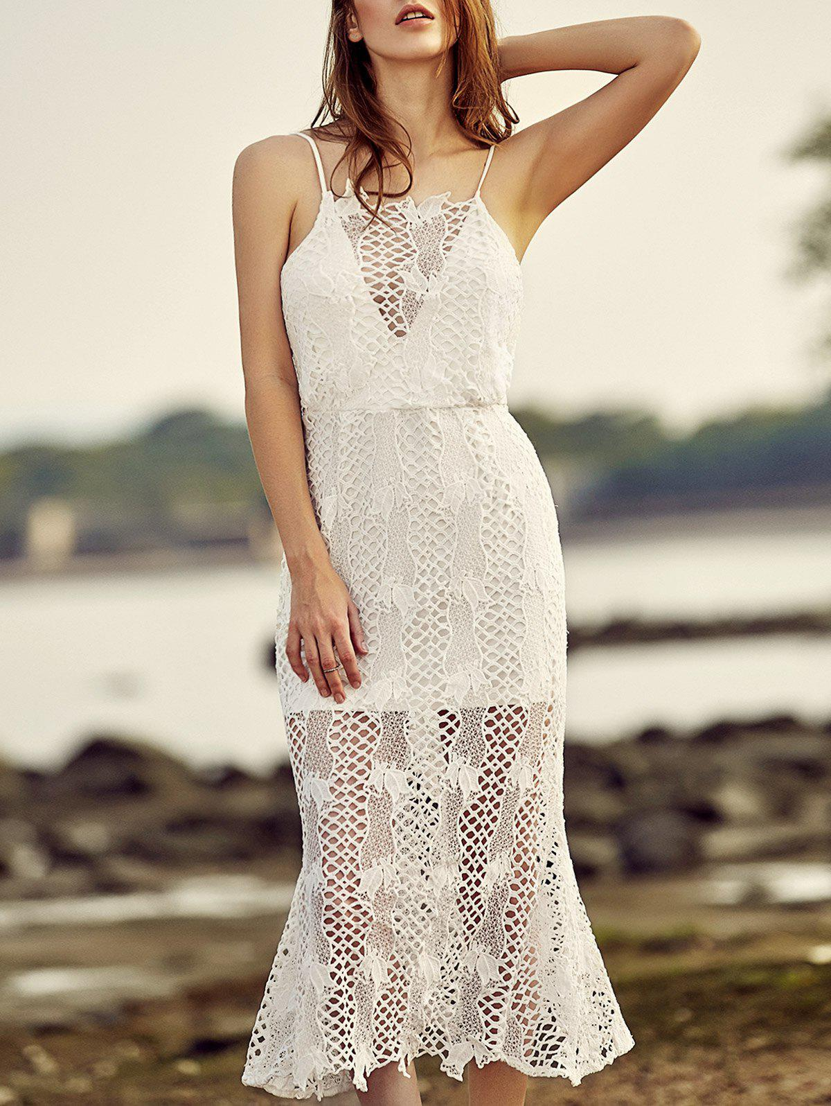 Chic Criss Cross Laced Splicing Crochet Dress For Women - WHITE 2XL