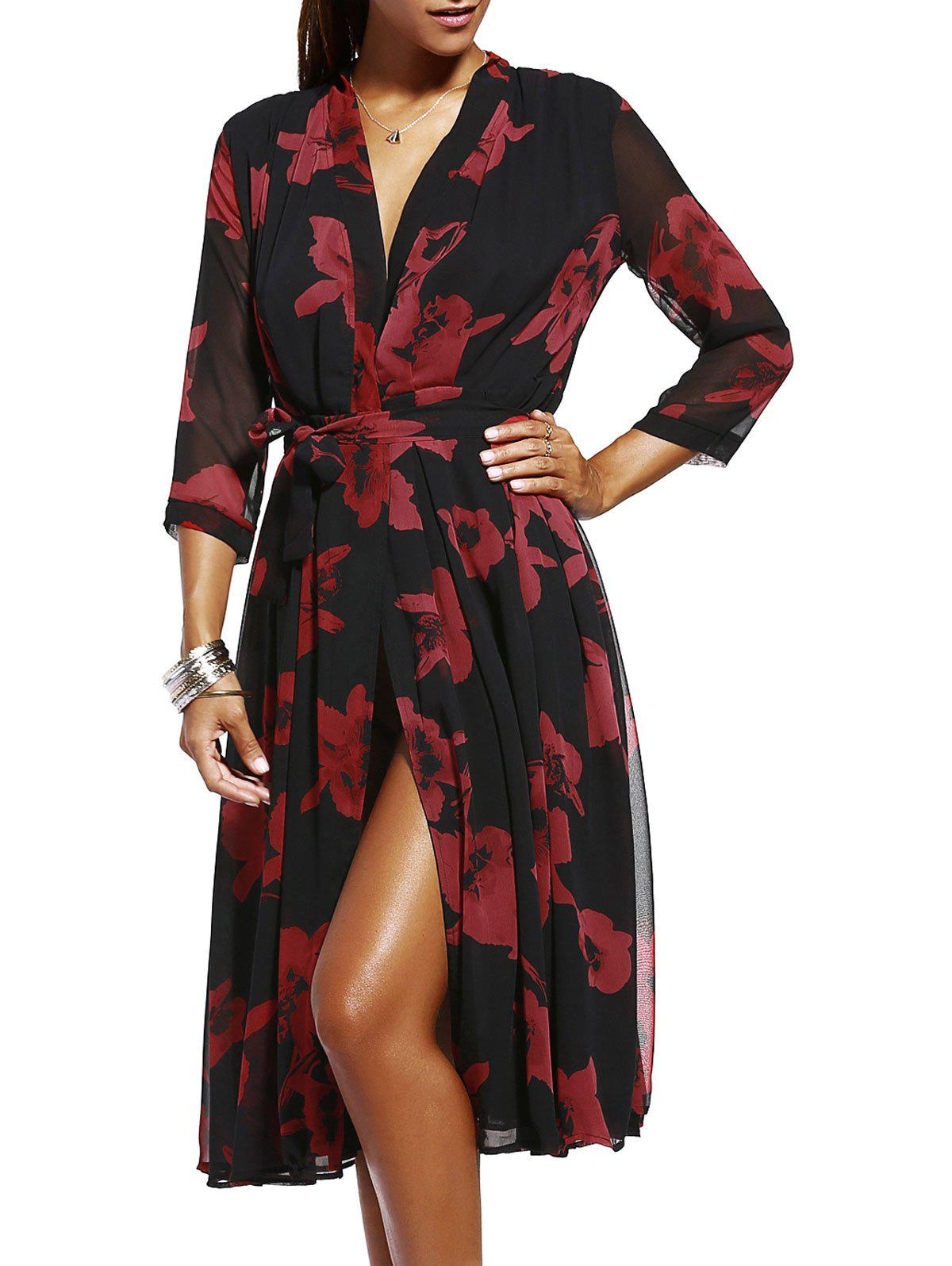 Chic Tie-Front Floral Print Women's Kimono Dress - RED ONE SIZE(FIT SIZE XS TO M)