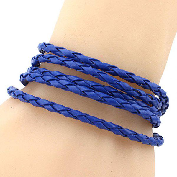 Braided Faux Leather Layered Bracelet - BLUE