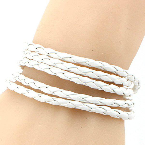 Braided Faux Leather Layered Bracelet - WHITE