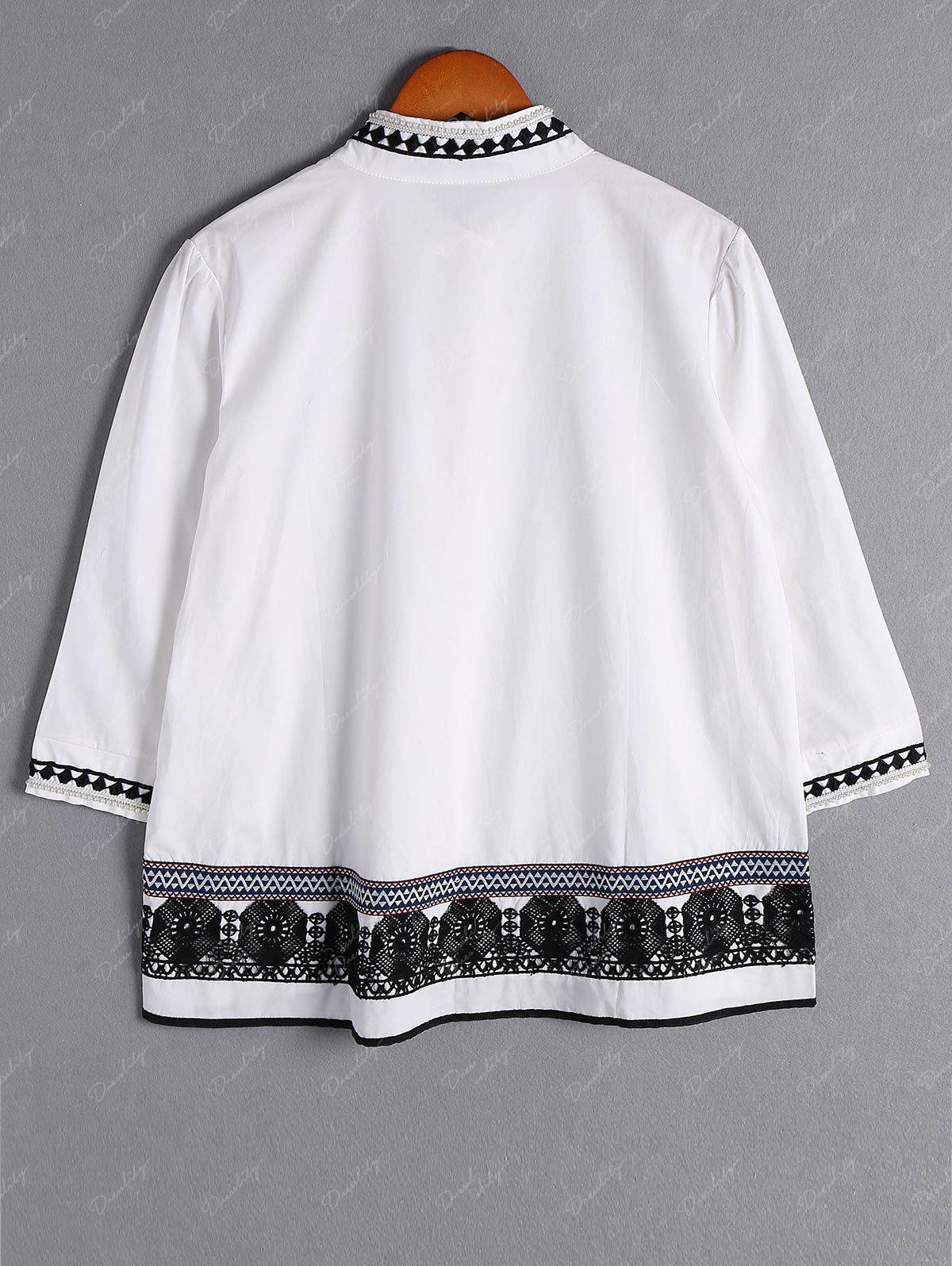 Sweet Lace Design Stand Collar 3/4 Sleeve Plus Size Blouse For Women - WHITE 2XL