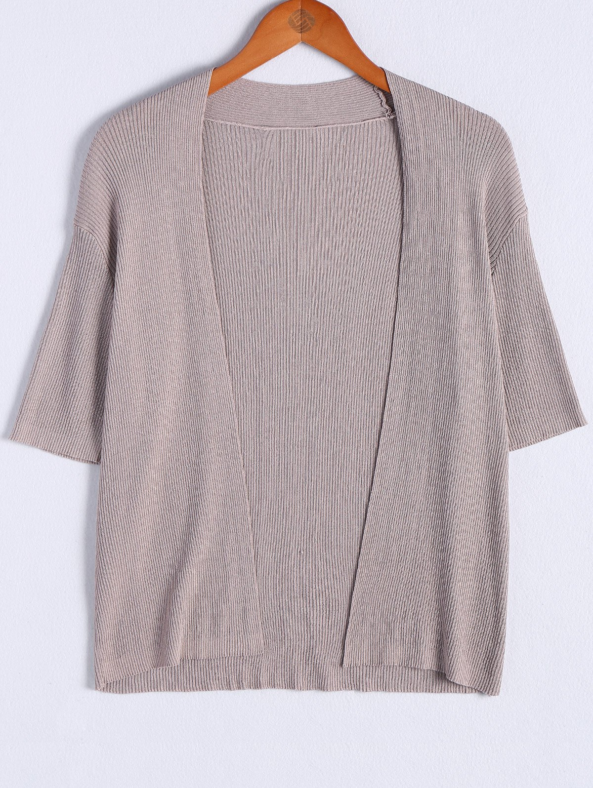 Simple Design Women's 3/4 Sleeve Knitting Thin Cardigan - DARK APRICOT ONE SIZE(FIT SIZE XS TO M)