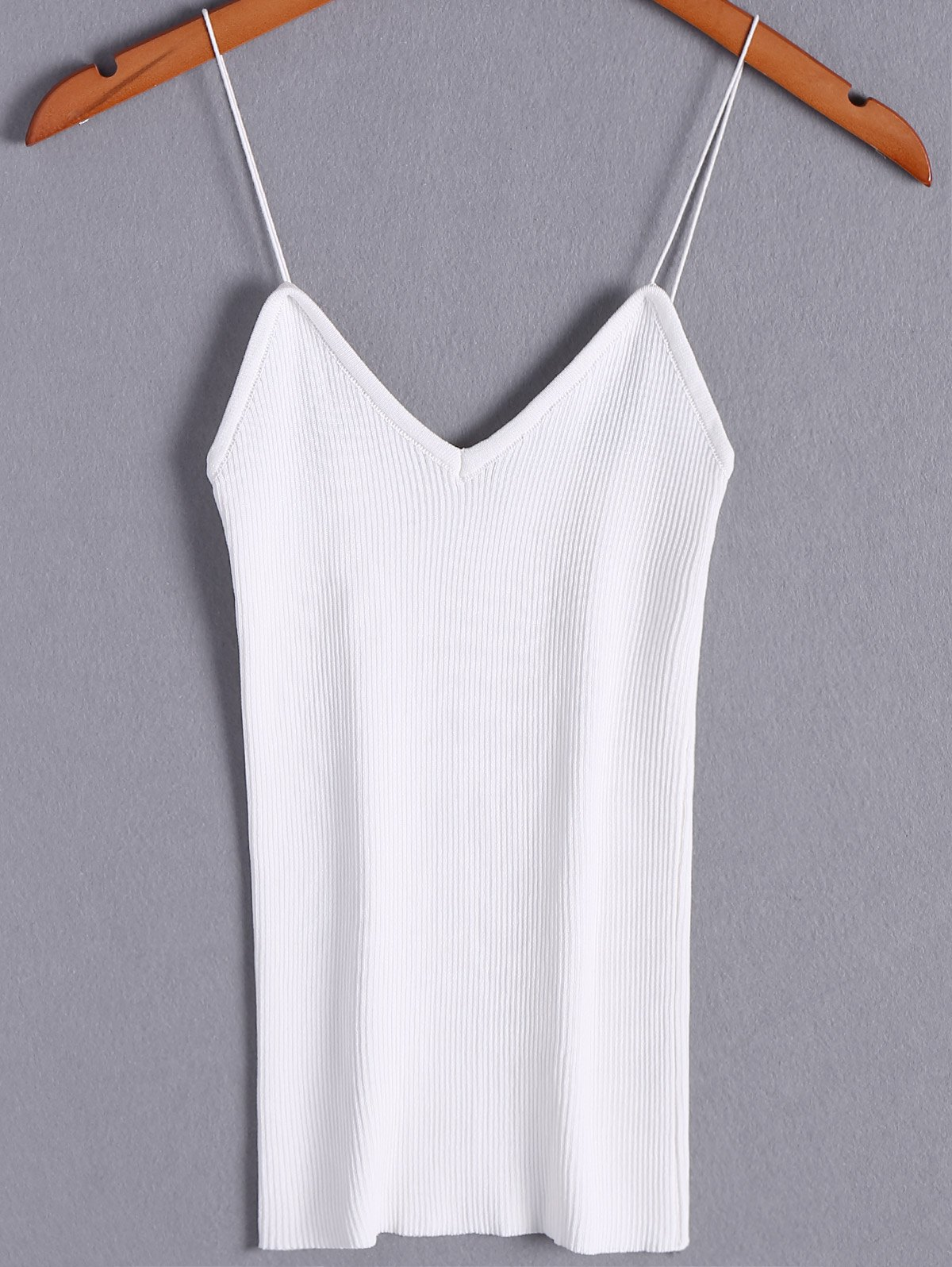 Simple Women's V-Neck Spaghetti Strap Tank Tops - WHITE ONE SIZE(FIT SIZE XS TO M)