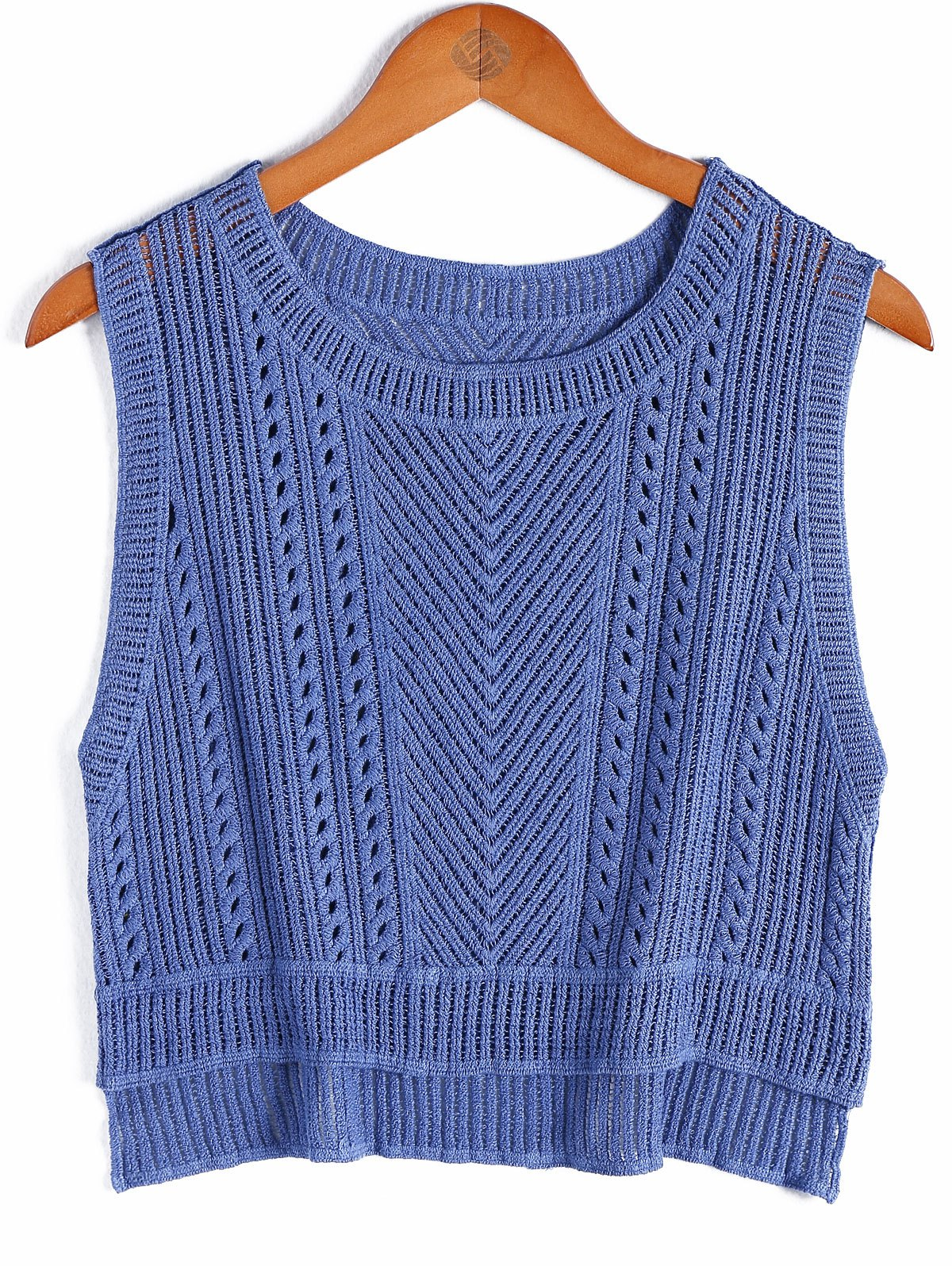 Stylish Women's Scoop Neck Solid Color Asymmetric Cotton Blend Sleeveless Top - ROYAL BLUE ONE SIZE(FIT SIZE XS TO M)