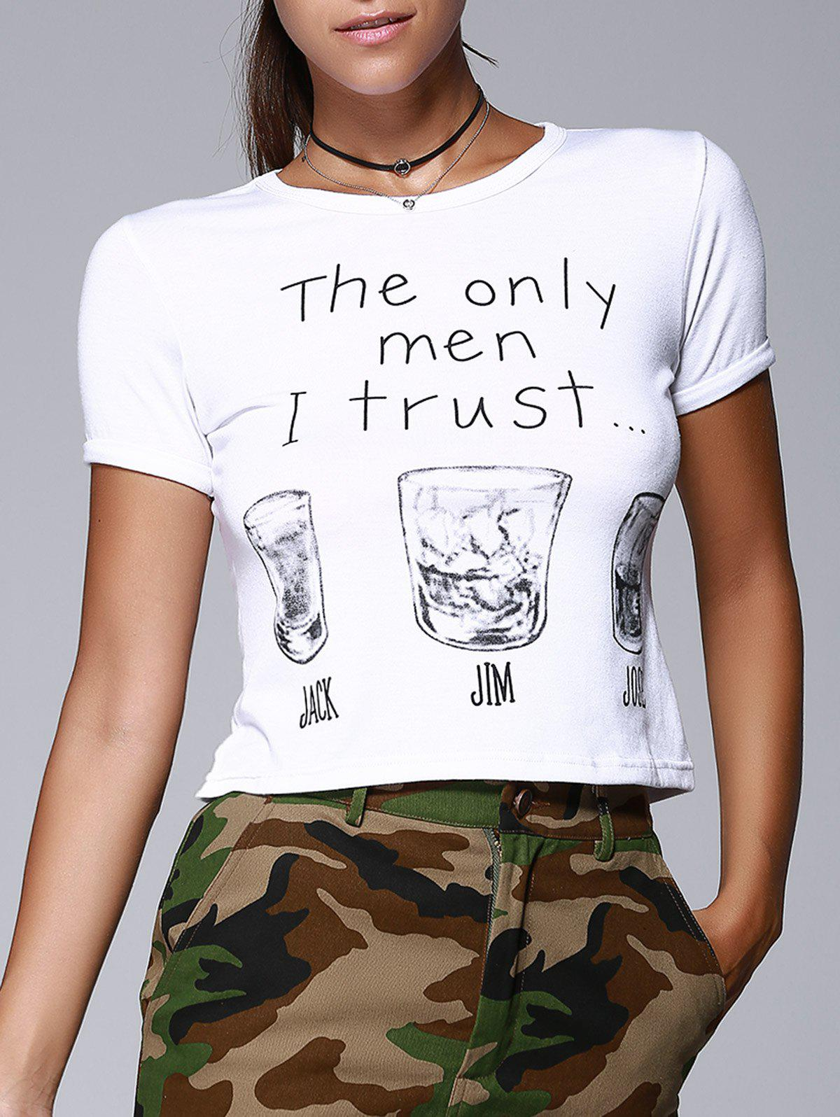 Round Collar Short Sleeve Letters Wine Glasses Print Brief Women's T-Shirt  - WHITE S